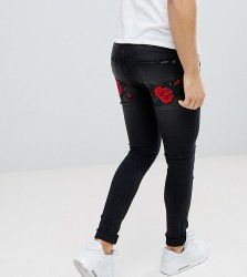 Liquor N Poker Black Wash Rose And Swallow Embroidered Skinny Jeans - Black