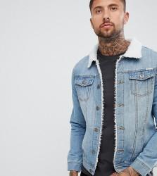 Liquor N Poker borg lined denim jacket in stone wash - Blue