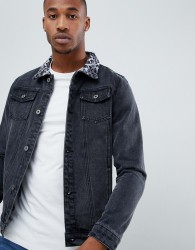 Liquor N Poker denim jacket with leopard collar in black - Black