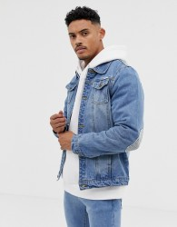 Liquor N Poker denim jacket with print and elbow patches in blue wash - Blue