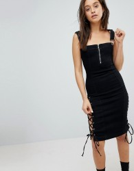 Liquor N Poker Denim Midi Dress with Lace Up Detail - Black