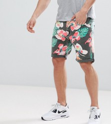 Liquor N Poker Denim Short In Tropical Print - Black