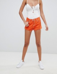 Liquor N Poker Denim Short with Contrast Thread - Orange
