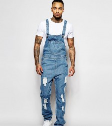 Liquor N Poker Dungarees Straight Fit Extreme Rips Stonewash - Blue