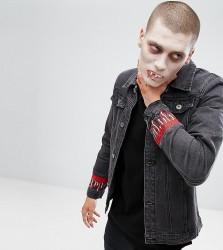Liquor N Poker Embroidered Dripping Blood Denim Jacket - Black
