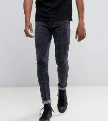 Liquor N Poker Grey Acid Wash Skinny Jeans - Grey