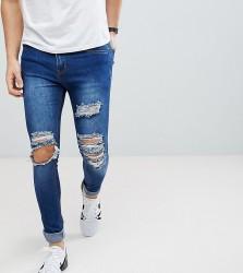 Liquor N Poker Mid Blue Open Rips Super Skinny Jeans - Blue