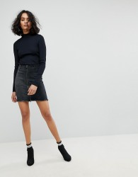 Liquor N Poker Mini Denim Skirt with Asymmetric Pocket and Embroidery - Black