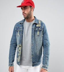 Liquor N Poker Norton Super Distressed stone Wash Jacket - Blue