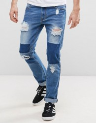 Liquor N Poker Patchwork Slim Jeans - Blue