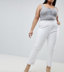 Liquor N Poker Plus Boyfriend Jean with Stepped Hem - White