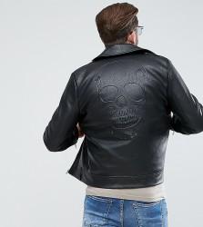 Liquor N Poker PU Black Embossed Skull Jacket - Black