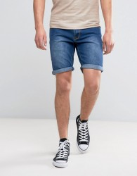 Liquor N Poker Relaxed Denim Short Mid Wash - Blue