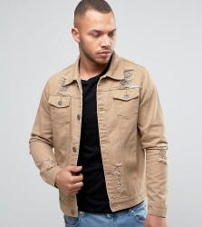 Liquor N Poker Ripped Denim Jacket Tan - Beige