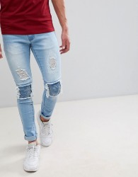 Liquor N Poker Ripped Open Biker Super Skinny Jeans - Blue