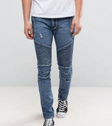 Liquor N Poker Skinny Distressed Biker Jeans in Brush Wash Blue - Blue