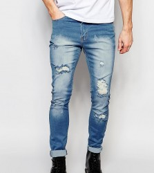 Liquor N Poker Skinny Extreme Rips Jeans in Light Stonewash - Blue