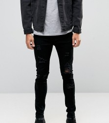 Liquor N Poker Skinny Extreme Rips Jeans in Washed Black - Black