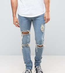 Liquor N Poker Skinny Jeans Ripped Ankle Zip - Blue