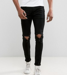 Liquor N Poker Skinny Rip Knee Jeans in Clean Black - Black