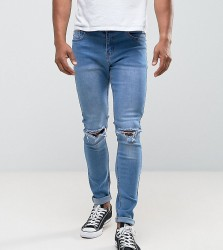 Liquor N Poker Skinny Rip Knee Jeans in Light Stonewash - Blue