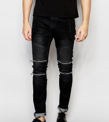Liquor N Poker Skinny Zip Biker Jeans in Black - Black
