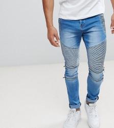 Liquor N Poker Skinny Zip Biker Jeans in Stonewash Blue - Blue