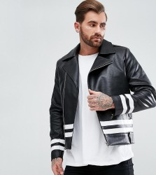 Liquor N Poker Striped PU Jacket - Black