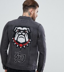 Liquor N Poker Year Of The Dog Denim Jacket With Embroidery - Black