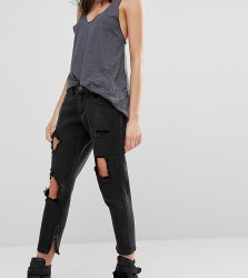 Liquor & Poker Petite Skinny Jeans With Extreme Distressing Ripped Knees - Black