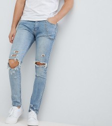 Liquor & Poker Washed Mid Blue Knee Rips Chain Skinny Jeans - Blue