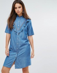 Liquoriosh Ruffle Short Sleeve Denim Shirt Dress - Blue