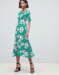 Liquorish a-line midi dress with keyhole and in floral print - Green