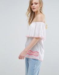Liquorish Bardot Top With Embroidery - White