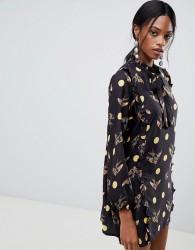 Liquorish Bird And Spot Print Shift Dress - Black