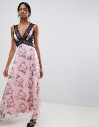 Liquorish Bird Print Maxi Dress With Lace Inserts - Pink