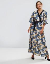 Liquorish Bird Print Wrap Maxi Dress - Multi