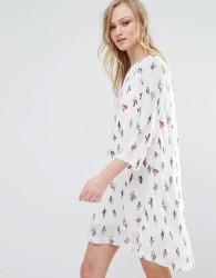 Liquorish Cactus Print Tunic Dress - White