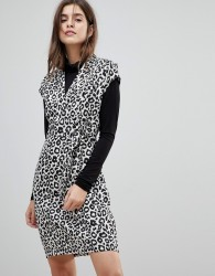 Liquorish Cap Sleeve Animal Print Dress With D-Ring And Attached Belt - Multi