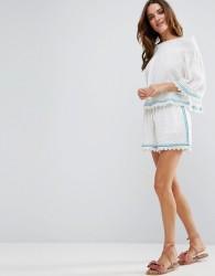 Liquorish Cheesecloth Embroidered Beachwear shorts Part of Co-Ord - Purple