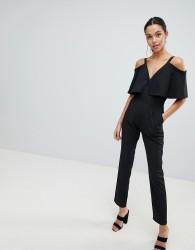 Liquorish Cold Shoulder Tailored Jumpsuit - Black