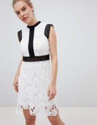 Liquorish Contrast Lace Skater Dress - White