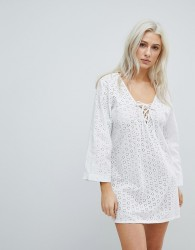Liquorish Crochet Effect Beach Dress - White
