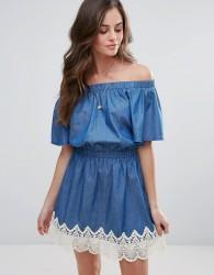 Liquorish Denim Bardot Dress - Blue