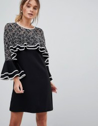 Liquorish Dress With Lace Detail And Frill Sleeves - Black