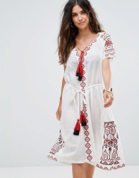 Liquorish Embroidered Beach Dress With Tassel Detail - White