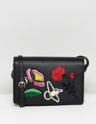 Liquorish Floral Embroidered Across Body Bag - Black