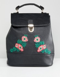 Liquorish Floral Embroidered Backpack - Black