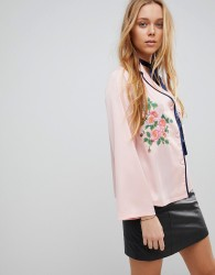 Liquorish Floral Embroidered Shirt - Pink