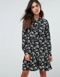 Liquorish Floral Mini Dress With Flounce - Black